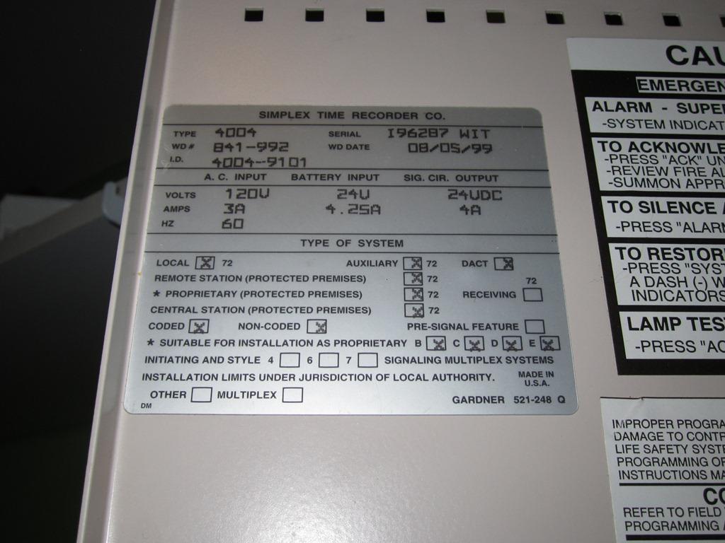 FAZone - Fire Alarms - Fire Alarm Collection - Simplex 4004 Info